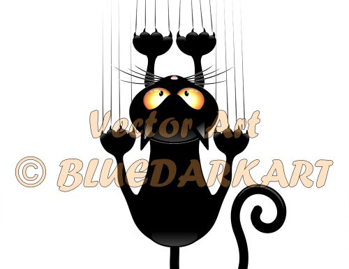 🔴 Cat Cartoon Scratching Wall © BluedarkArt TheChameleonArt🔸 Buy License / Download 🔴