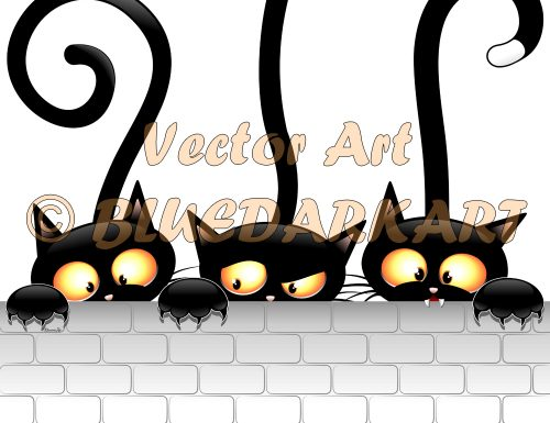 Three Naughty Black Cats Cartoon © BluedarkArt TheChameleonArt 🔸 Buy License / Download